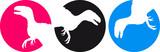 3 Raptor T-Rex Kreis Mond Sonne Logos poster