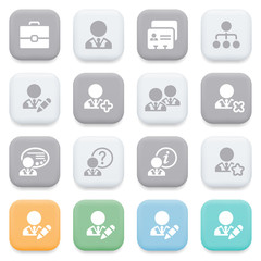 Users icons on color buttons.