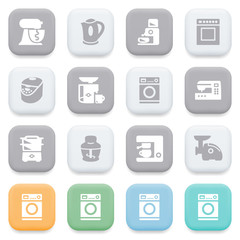 Kitchen appliances icons on color buttons.