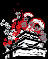 symbol pagoda of japan with sakura flower and folding fan vector