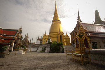 Giant Wat Phra Kaew with morning sunlight