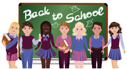 Back to School. Little schoolkids, vector illustration