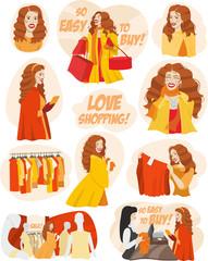 big set of girls shopaholic
