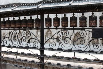 Prayer wheels in Swayambhunath (Kathmandu, Nepal)