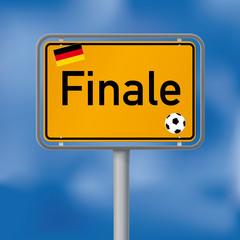 Ortsschild Deutschland im Finale Fussball WM