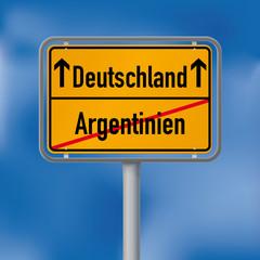 Ortsschild Deutschland gewinnt gegen Argentinien