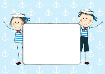 Funny sailor kids with paper card