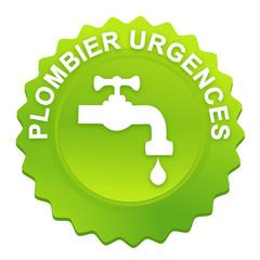 urgences plombier sur bouton web denté vert