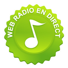 web radio sur bouton web denté vert