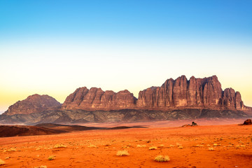 Scenic Wadi Rum at twilight time in Jordan.