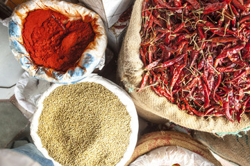 Red Chillies, Coriander Seeds and Chilly Powder