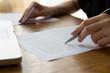Leinwanddruck Bild - Hand with Pen Proofreading