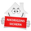 Haus Schild Niedrigzins