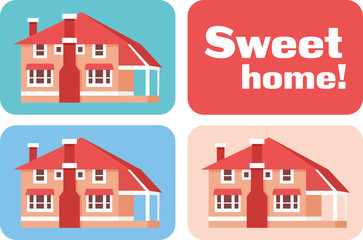 sweet home set in pink and blue colors