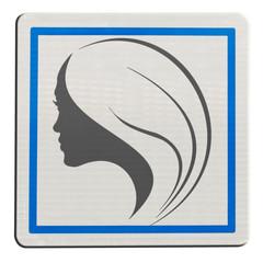 silhouette profil de jeune femme sur plaque carrée