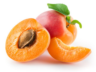 Apricot, half and piece isolated on white background