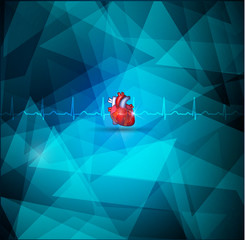 Heart amatomy and Geometric shape cardiologry background