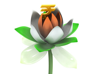 Rupee in 3d tricolor lotus