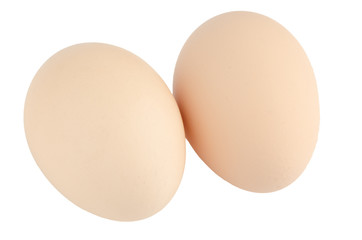 Two eggs on white