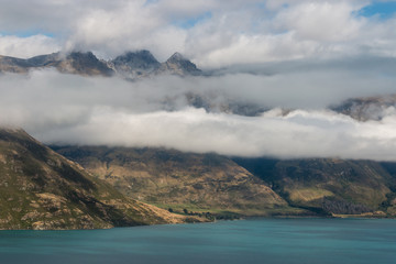 clouds inversion above lake Wakatipu in New Zealand