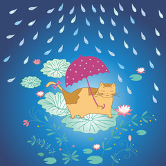 lotus and cat in rain
