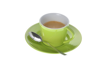 Espresso Tasse mit Löffel auf weiss Hintergrund