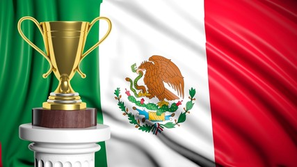 Golden trophy with Mexican flag in background