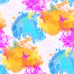 Seamless abstract wallpaper watercolors flowers,butterflies
