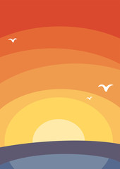 Poster sunset sea landscape