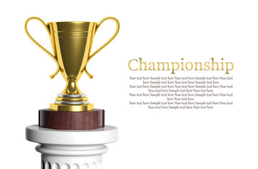 Golden trophy isolated on white with copy-space
