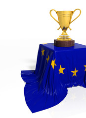 Golden trophy with European flag isolated on white