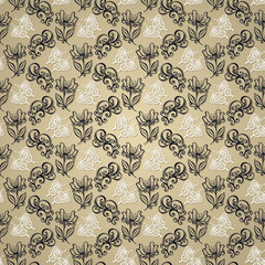 Seamless Ornate Floral Pattern with Butterfly (Vector)