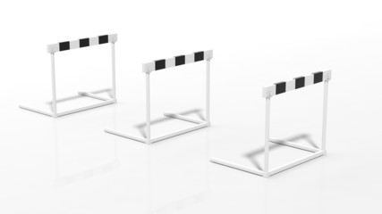 Three black and white hurdles isolated on white
