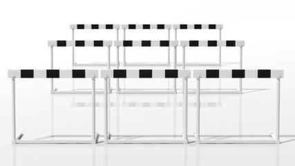 Rows of black and white hurdles isolated on white