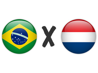 Netherlands versus Brazil Flag Soccer Game