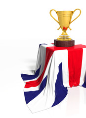 Golden trophy with British flag isolated on white