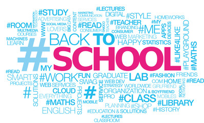 Back to school text hashtag words tag cloud illustration