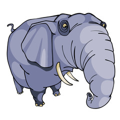 cartoon elephant gray with a thick trunk