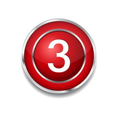 3 Number Circular Vector Red Web Icon Button