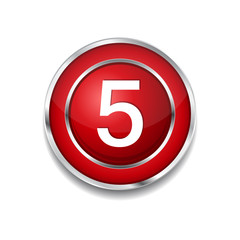 5 Number Circular Vector Red Web Icon Button