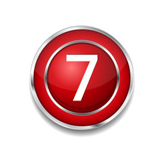 7 Number Circular Vector Red Web Icon Button