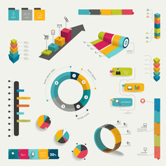 Collection of infographics elements. Colorful set template.