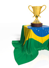 Golden trophy with Brazilian flag isolated on white
