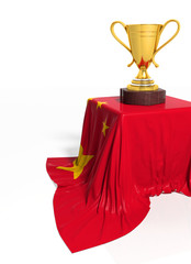 Golden trophy with Chinese flag isolated on white
