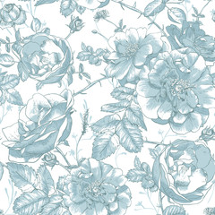 Beautiful Vintage Seamless Roses Background © depiano