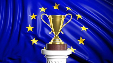 Golden trophy with European flag in background