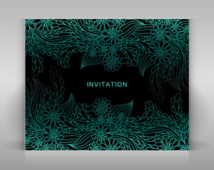 Black invitation with blue floral decoration.