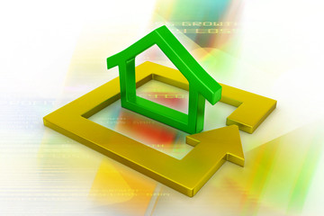 Green home icon in golden square