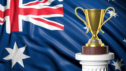 Golden trophy with Australian flag in background