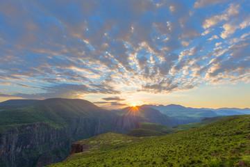 Sunrise over Maletsunyane valley